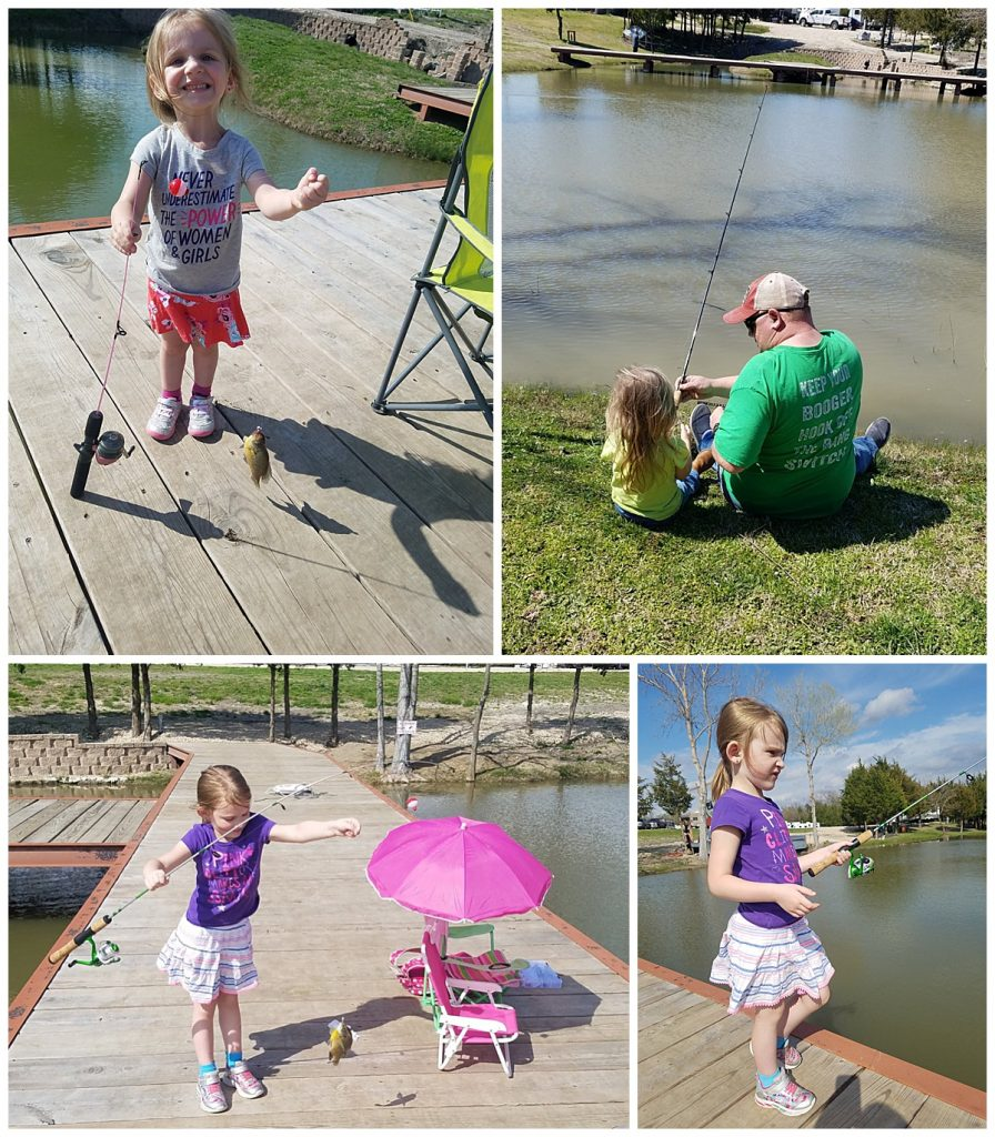 Lexie and Kylie fishing at Lakeland RV Ranch